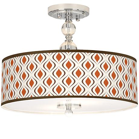 "Retro Lattice Giclee 16"" Wide Semi-Flush Ceiling Light"