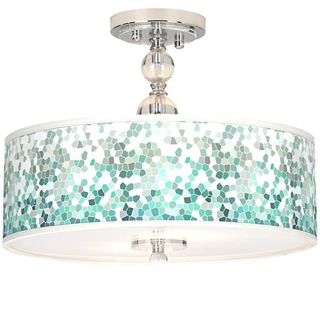 "Aqua Mosaic Giclee 16"" Wide Semi-Flush Ceiling Light"