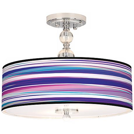 "Purple Neon Giclee 16"" Wide Semi-Flush Ceiling Light"
