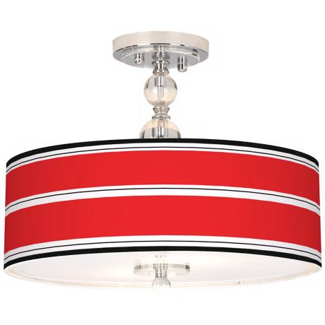 "Red Stripes Giclee 16"" Wide Semi-Flush Ceiling Light"