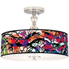 "Paintbox Giclee 16"" Wide Semi-Flush Ceiling Light"