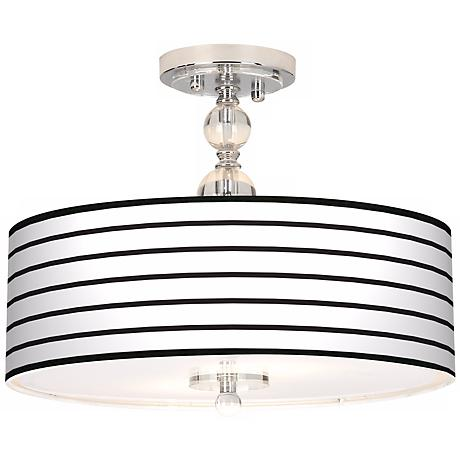"Black Parallels On White 16"" Wide Semi-Flush Ceiling Light"