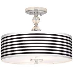 "Black Horizontal Stripe 16"" Wide Semi-Flush Ceiling Light"