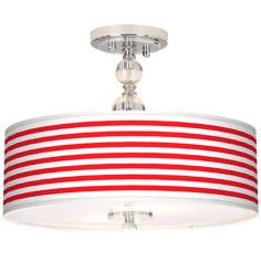 "Red Horizontal Stripe 16"" Wide Semi-Flush Ceiling Light"
