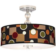"Retro Medley Giclee 16"" Wide Semi-Flush Ceiling Light"