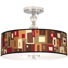 "Earth Palette Giclee 16"" Wide Semi-Flush Ceiling Light"