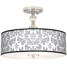 "Grey Flourish Giclee 16"" Wide Semi-Flush Ceiling Light"