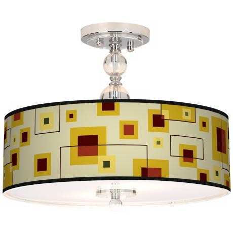 "Windows Giclee 16"" Wide Semi-Flush Ceiling Light"