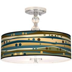 "Dots And Waves Giclee 16"" Wide Semi-Flush Ceiling Light"