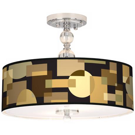 "Earthy Geometrics Giclee 16"" Wide Semi-Flush Ceiling Light"