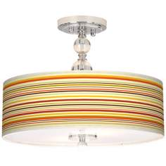 "Stacy Garcia Lemongrass Stripe 16"" Semi-Flush Ceiling Light"