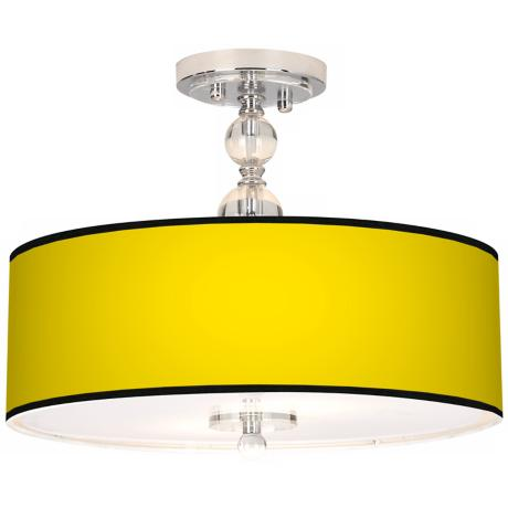 "All Yellow Giclee 16"" Wide Semi-Flush Ceiling Light"
