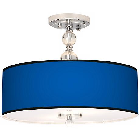 "All Blue Giclee 16"" Wide Semi-Flush Ceiling Light"