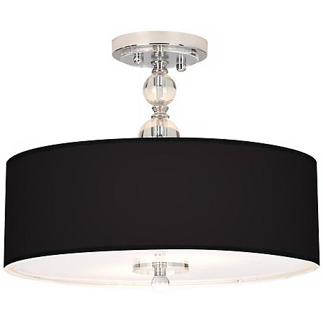 "All Black Giclee 16"" Wide Semi-Flush Ceiling Light"