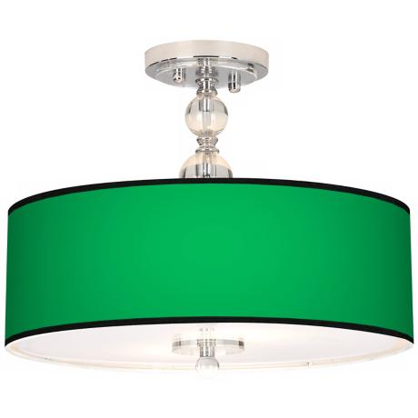 "All Green Giclee 16"" Wide Semi-Flush Ceiling Light"