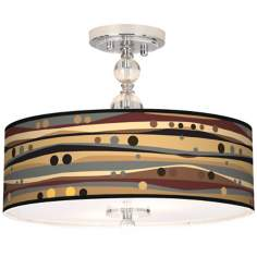 "Natural Dots And Waves 16"" Wide Semi-Flush Ceiling Light"