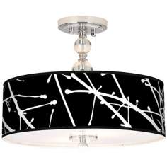 "Stacy Garcia Calligraphy Tree Black 16"" Wide Ceiling Light"