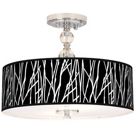 "Stacy Garcia Twiggy Black 16"" Wide Semi-Flush Ceiling Light"