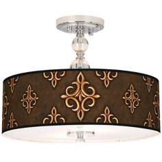 "Estate Mocha Giclee 16"" Wide Semi-Flush Ceiling Light"