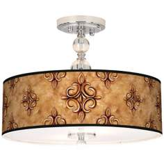 "Estate Nutmeg Giclee 16"" Wide Semi-Flush Ceiling Light"