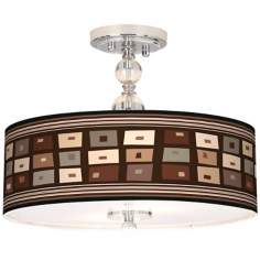 "Retro Rectangles Giclee 16"" Wide Semi-Flush Ceiling Light"
