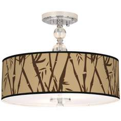"Earth Bamboo Giclee 16"" Wide Semi-Flush Ceiling Light"