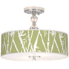 "Lush Bamboo Giclee 16"" Wide Semi-Flush Ceiling Light"