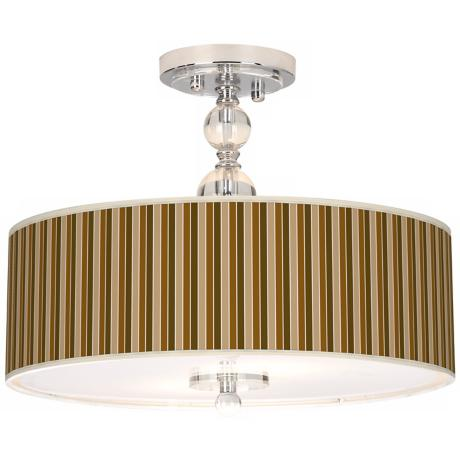 "Umber Stripes Giclee 16"" Wide Semi-Flush Ceiling Light"