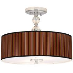 "Cinnamon Stripes Giclee 16"" Wide Semi-Flush Ceiling Light"