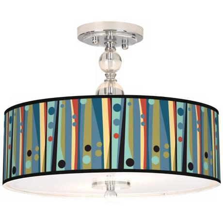 "Pastel Dots Vertical 16"" Wide Semi-Flush Ceiling Light"