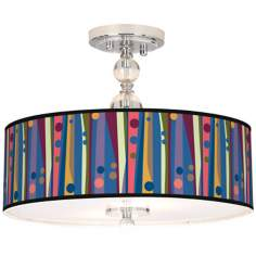 "Retro Dots Vertical Giclee 16"" Wide Semi-Flush Ceiling Light"