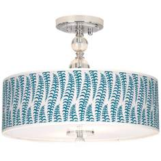 "Stacy Garcia Fancy Fern Peacock 16"" Semi-Flush Ceiling Light"