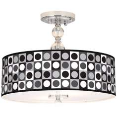 "Black And Grey Dotted Square 16"" Semi-Flush Ceiling Light"