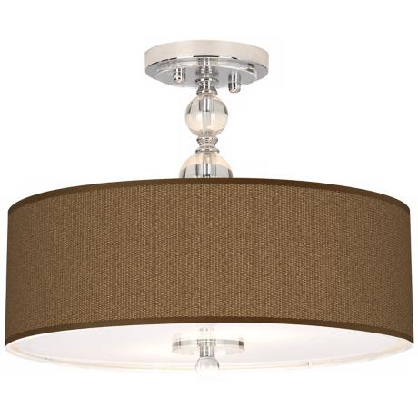 "Khaki Giclee 16"" Wide Semi-Flush Ceiling Light"