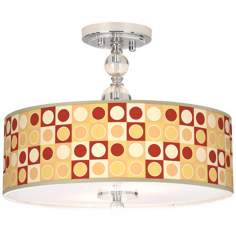 "Retro Dotted Squares 16"" Wide Semi-Flush Ceiling Light"