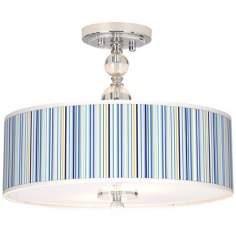 "Stacy Garcia Cabana Stripe 16"" Wide Semi-Flush Ceiling Light"
