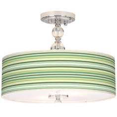 "Lexington Stripe Giclee 16"" Wide Semi-Flush Ceiling Light"