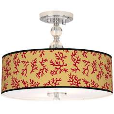 "Crimson Coral Giclee 16"" Wide Semi-Flush Ceiling Light"