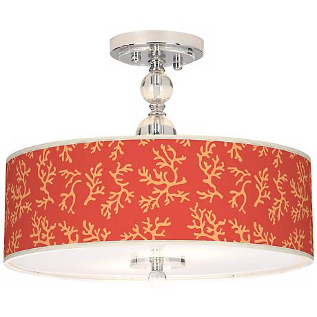 "Tangerine Coral Giclee 16"" Wide Semi-Flush Ceiling Light"