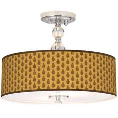 "Kathy Ireland Pineapple Passion 16"" Semi-Flush Ceiling Light"