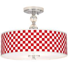 "Checkered Red Giclee 16"" Wide Semi-Flush Ceiling Light"