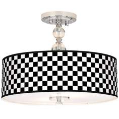 "Checkered Black Giclee 16"" Wide Semi-Flush Ceiling Light"