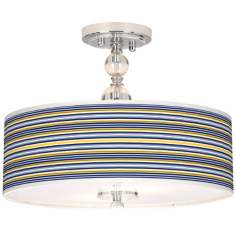 "Charleston Stripes Giclee 16"" Wide Semi-Flush Ceiling Light"