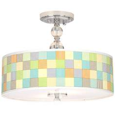 "Pixel Light Giclee 16"" Wide Semi-Flush Ceiling Light"