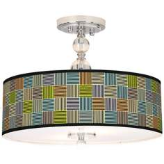 "Pixel City Giclee 16"" Wide Semi-Flush Ceiling Light"