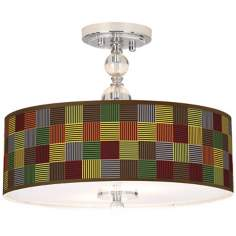 "Pixel Forest Giclee 16"" Wide Semi-Flush Ceiling Light"