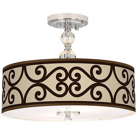 "Cambria Scroll Giclee 16"" Wide Semi-Flush Ceiling Light"