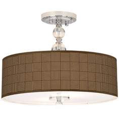 "Crisscross Giclee 16"" Wide Semi-Flush Ceiling Light"