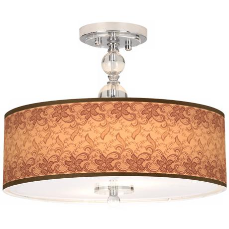 "Sepia Lace Giclee 16"" Wide Semi-Flush Ceiling Light"