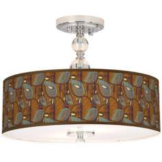 "Stacy Garcia Theatric Vine Peacock 16"" Wide Ceiling Light"